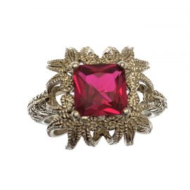 New Silver Ruby CZ Cocktail Ring