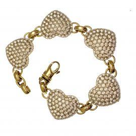 New 9ct Gold CZ Heart Bracelet