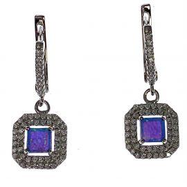 New Silver Opal CZ Drop Earrings