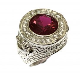 New Silver Ruby Red CZ Medusa Head Ring