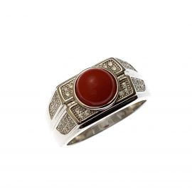 New Silver Red Cabochon & CZ Ring