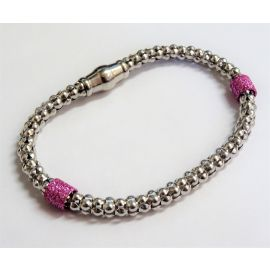 New Silver Rhodium Plated Popcorn Bracelet Set With Pink Bands