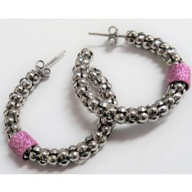 New Silver Popcorn Hoop Earrings With Pink Spacers