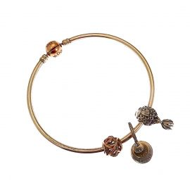Silver Pandora Bangle with Charms & Rose Clasp