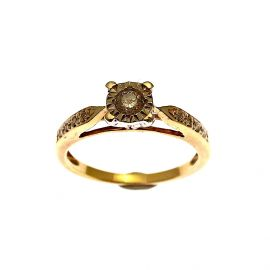 9ct Gold Illusion Set Diamond Engagement Ring