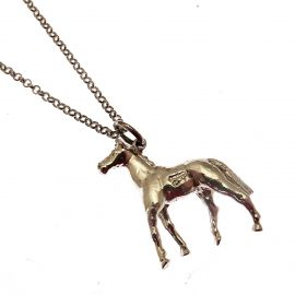 New Sterling Silver Horse Pendant Necklace