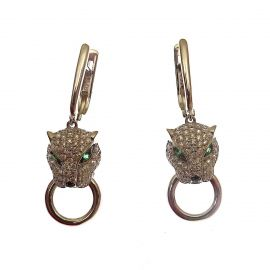 New Sterling Silver CZ Leopards Head Earrings