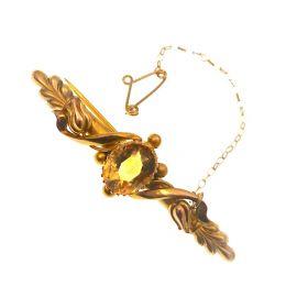 Antique 9ct Gold Citrine Brooch