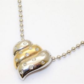 9ct White Gold Heart Pendant Set With Diamonds