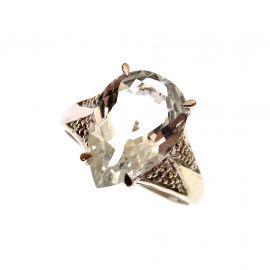 9ct Gold CZ Ladies Pear Drop Ring