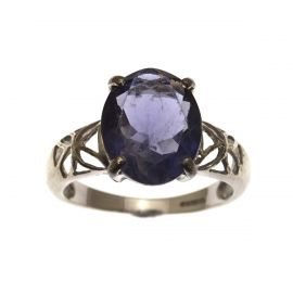 Second Hand 9ct White Gold Amethyst Ring