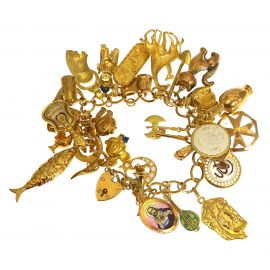 Heavy 9ct Gold Charm Bracelet With Charms