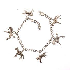 Handmade Sterling Silver Horse Charm Bracelet