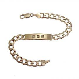 Second Hand  9ct White Gold Kids Diamond ID Bracelet
