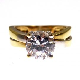 9ct White & Yellow Gold CZ Ring