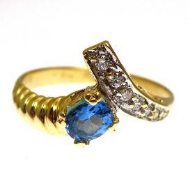 14kt Gold Topaz Cz Ring