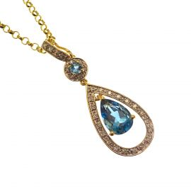 Pre-loved 9ct Gold Blue Topaz & Diamond Drop Necklace