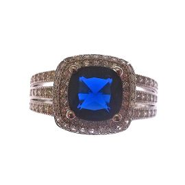New Sterling Silver Sapphire Blue CZ Encrusted Ring