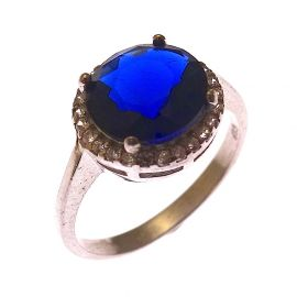 New Sterling Silver Sapphire Blue CZ Halo Ring