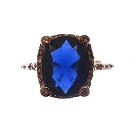 New Sterling Silver Sapphire Blue CZ Ring