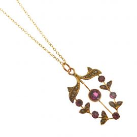 Antique 9ct Gold Amethyst & Seed Pearl Pendant Necklace