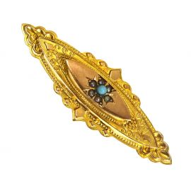 Antique 9ct Gold Seed Pearl & Turquoise Brooch