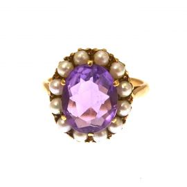 Vintage 9ct Gold Amethyst & Seed-Pearl Ring