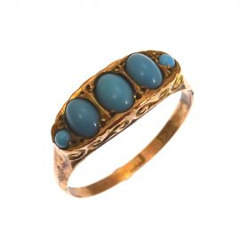 Antique 9ct Gold Five Stone Turquoise Ring