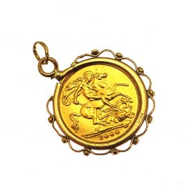 22ct Gold Half Sovereign Coin in 9ct Gold Mount