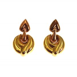 9ct Gold Two Toned Hanging Stud Earrings