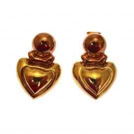 9ct Gold Two Tone Heart Stud Earrings