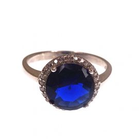 New Sterling Silver Sapphire Blue Halo CZ Ring