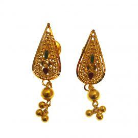 22ct Indian Gold Ladies Drop Earrings