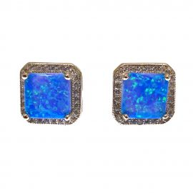 New Silver Blue Opal Cluster Studs