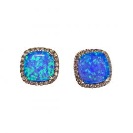 New Sterling Silver Blue Opal Cluster Studs