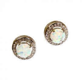 New Silver Opal Cluster Studs