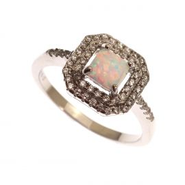 New Sterling Silver Opal & CZ Cluster Ring