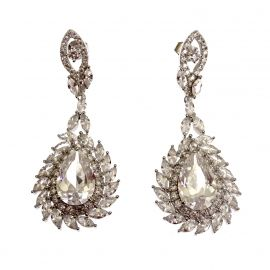 New Sterling Silver CZ Chandelier Earrings