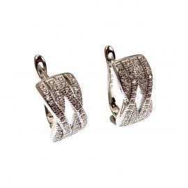 New Sterling Silver Crossover CZ Huggie Earrings