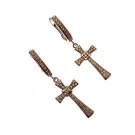 New Sterling Silver Dangling Cross Earrings