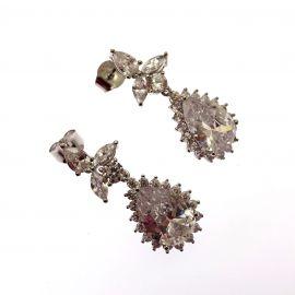 New Sterling Silver CZ Chandelier Earrings
