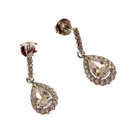 New Sterling Silver CZ Dangling Earrings