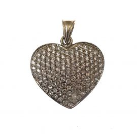 New 9ct White Gold CZ Heart Pendant