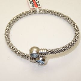 Silver Twist Bangle With Blue Stones