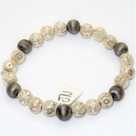 Rhodium Sterling Silver & Black Diamond cut Bead Bracelet
