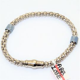 New Silver Rhodium Plated Popcorn Bracelet Set With Blue Beads