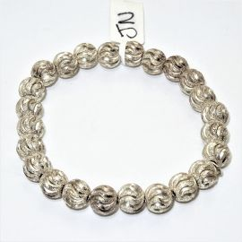 Rhodium Sterling Silver Diamond cut Bead Bracelet