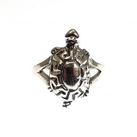 New Silver Patterned Turtle Ring