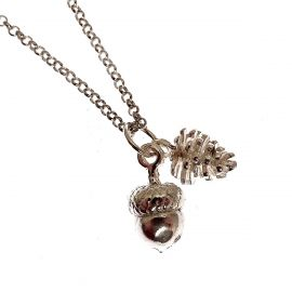 New Handmade Sterling Silver Solid Acorn & Pine Cone Pendant Necklace
