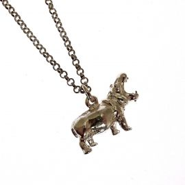 New Handmade Sterling Silver Hippopotamus Pendant Necklace